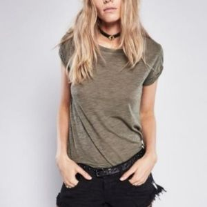 Free People We The Free Olive Green Clare Tee